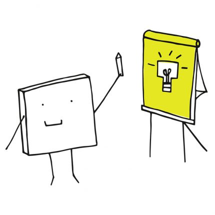 Picture of a cartoon post it pad and a flicphart