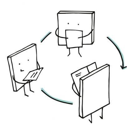 Cartoon of post it pads sharing ideas