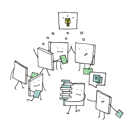 A cartoon showing lots of post it pads working together